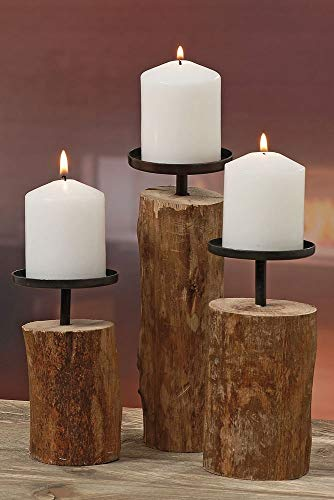 3er-Set Kerzenleuchter Kerzenständer 'Tempe' Holz - H14/18,5/23,5cm
