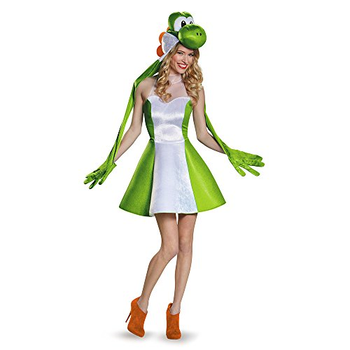 Disguise Damen Damen Yoshi Rock Fancy Kleid Kostüm Gr. Small, Weiß - Apple Green,White