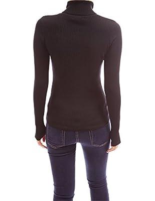 PattyBoutik Collar V Neck Button Pockets Ribbed Jumper