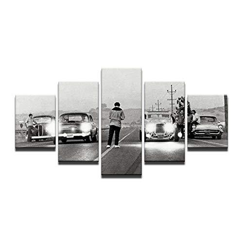 Fbhfbh Modulare Poster HD Gedruckt Leinwand Gemälderahmen Für Wohnzimmer Wandkunst 5 Stücke Hot Rod Oldtimer Bilder Wohnkultur-8 x 14/18/22inch,With frame