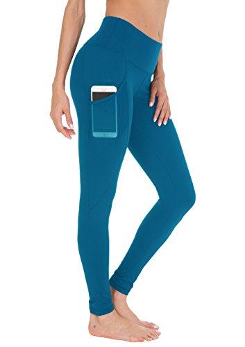 Queenie Ke Damen Yoga Leggings Power Flex Mesh Hohe Taille 3 Handytasche Gym Laufhose Farbe See Blau Größe XXL