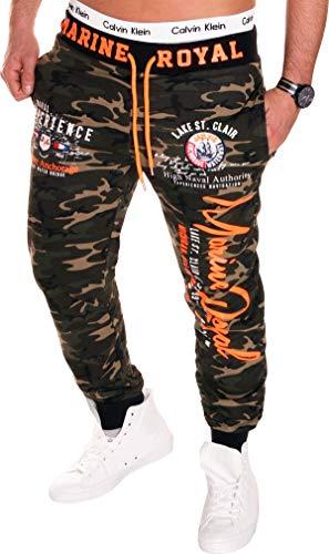 RMK Herren Hose Jogginghose lang Trainingshose Fitnesshose 100% Baumwolle Sweatpants Sport Fitness H.512 (3XL, Camouflage Orange) Orange Camouflage