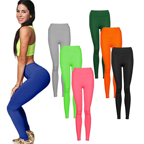 Ouneed® Femme Fitness Pantalons Elastique Leggings Haut Taille Gym Stretch Trousers Vert