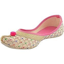Babes Punjabi/ Rajasthani Ethnic Jutti Mojari for Women and Girls (7 UK, PINK)