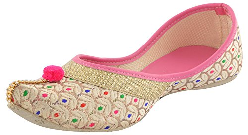 Babes Punjabi/ Rajasthani Ethnic Jutti Mojari for Women and Girls (7 UK, PINK)