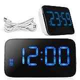 LED Wecker, Life-Plus Alarm Uhr, Digitalwecker, Großer Bildschirm Digitaluhr Sound Control Wecker mit Snooze und Alarm Funktion durch USB Kabel oder 4 x AAA Batterien für Schreibtisch / Nachttisch (Blau)