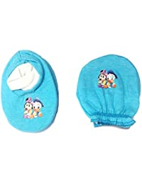 Platinum Baby Boy's and Baby Girl's Cotton Mittens Booty Set (0-6 Months, Blue)