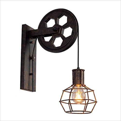Applique murale poulie industrielle vent rétro American personnalité créatrice mur lampe Edison ampoule café escalier en fer forgé applique murale décorative (Design : A)
