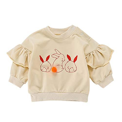 Cuteelf Kinder Langarm Rüschen Bunny Print T-Shirt Pullover Top Cute Cute Baby Girl Bunny Print Pullover Top T-Shirt Freizeitkleidung Winter Warm Komfortable Langarm