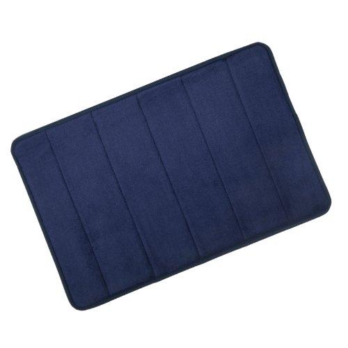Micro-Pro - Scendibagno in microfibra e memory foam, fondo antiscivolo, 40 x 60 cm, 22 colori blu navy