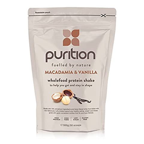 Wholefood Macadamia & Vanilla Protein Shake (500g) Ideal for weight loss & post exercise recovery - 100% natural meal replacement - Breakfast smoothie for men & women - Drink or mix in yogurt/porridge