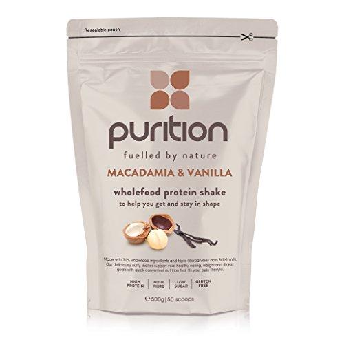 Batido de proteínas de nueces de macadamia & vainilla (500g). Ideal para perder peso & recuperación post-ejercicio – sustituto de comida 100% natural – Batido para el desayuno