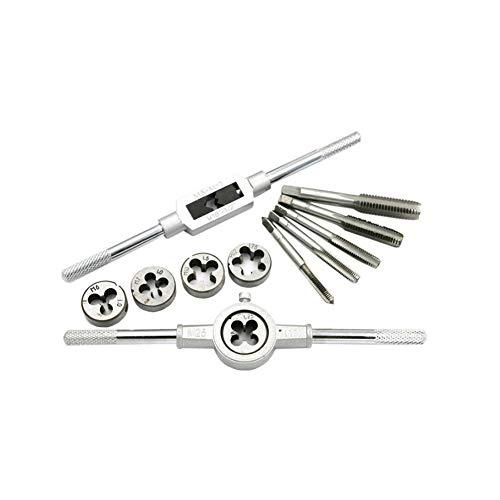 Tippen Sie auf und sterben Werkzeug-Set Profi-Hahn und sterben Set Tragbarer Engineers Kit Schraube Bolzenschneider Fall mit Speicher-Fall-Hardware-Tools 12st Silber