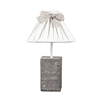 Lampada da tavolo vintage Love bianco grigio, ornato con base cemento Shabby Chic lampadina E14