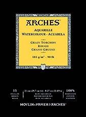 Arches Watercolour Gummed Pads Rough 185 GSM 21 X 29.7 CM ( A4 ) 100% pure cotton , total 15 Sheets