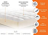Luxury Orthopaedic Anti Allergy Mattress Topper Seersucker Waffle Effect Topper Quilted Filled Mattress Protector