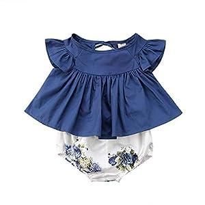 Proumy ◕ˇ∀ˇ◕Baby Kleidung Set Neugeborene Jungen Mädchen Ärmellos Strampler Overall Rüschen T-Shirt Tops+Kurze Hose Romper Outfits Spielanzug Set