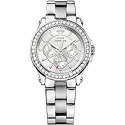 Juicy Couture Pedigree Women's Quartz Watch with Silver Dial Analogue Display and Silver Stainless Steel Bracelet 1901048