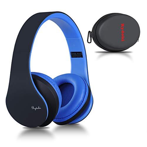 Bluetooth Over Ear Kopfhörer, Rydohi Wireless Stereo Headset Klappbares Kopfhörer mit Integriertem Mikrofon/FM Radio /MP3 Player für iPhone, Android, PC -Schwarz Blau