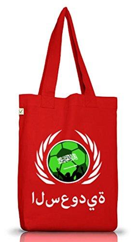Fussball WM Fanfest Gruppen Jutebeutel Stoffbeutel Earth Positive Fußball Saudi-Arabien Red