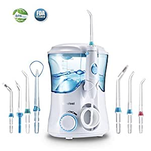 Dental Water Flosser,Nicefeel Power Flosser 10 Pressure Settings Oral Irrigator Dental 600ml High Capacity Water Pick with 7 Multifunctional Tips for Family FDA Approved,UK 3-Pin Plug