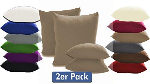 Doppelpack Serie Jersey Kissenbezüge mit Reißverschluss aus 100% Baumwolle in 12 modernen Farben und 4 Größen(40 x 40 cm, Sand)
