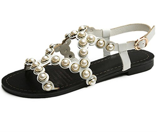 YCMDM Sandales pour femme Summer Gladiator Soles légères PU Outdoor Casual Chunky Heel Imitation Pearl Walking White