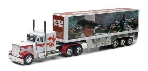 John Wayne Peterbilt Die Cast Semi-Truck Tractor and Trailer Hauler Set by Newray (English Manual)