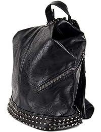 e090cf2b75 Zaino zainetto da passeggio uomo donna unisex a mano spalla fashion con  borchie nero in Ecopelle