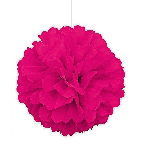 Unique Party Supplies 40cm Pompom in neon rosa Farbe aus Seidenpapier