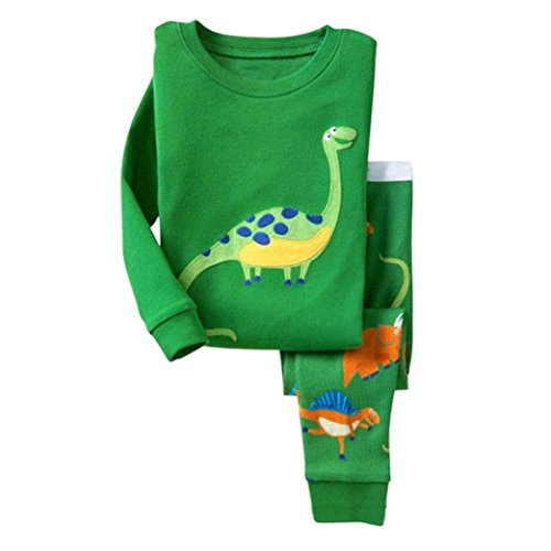 ZARU Muchacho de la muchacha del dinosaurio del bebé arropa la decoración pijamas determinados del cabrito ropa de dormir ropa de dormir Homewear Verde(1PC camiseta + 1PC pantalones largos) (6)