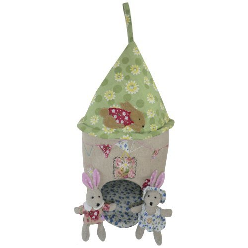 Cute & Cuddly Cloth Touch Childs Patchwork Rabbit House With Two Mini Rabbits -