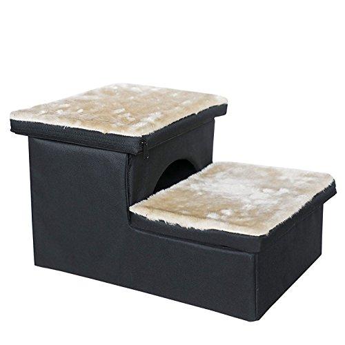 Petsfit Hundetreppe mit 2 Stufen. Einfache Stufen mit Vlies-Bezug - leichte, tragbare Haustier-Treppe mit weichem, waschbareren Bezug - ideale Rampe für ältere oder kleinere Hunde 43cm x 32cm x 27cm