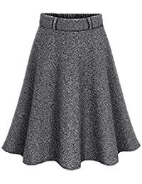 Zilcremo La Mujer Otoño Invierno Lana Elegante Cintura Alta Falda  Acampanada con Cinturon De Swing Midi 012b00400403