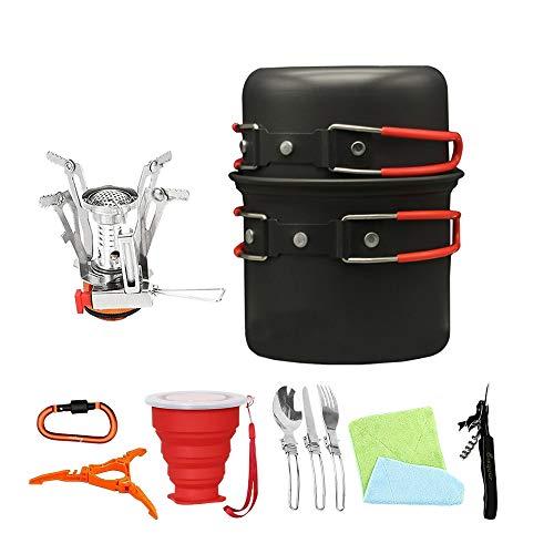 TOOGOO Im Freien Camping Koch Geschirr Kit Falt Topf Kits Koch Ausrüstung Für Camping Wandern 11 Teiliges Koch Set