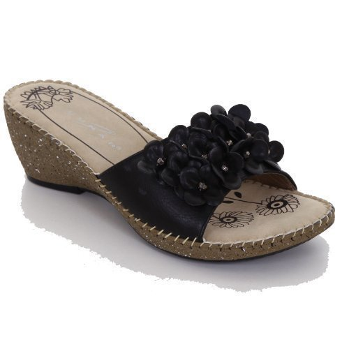 Sapphire - Sandali da Donna con Fiori e Perline Corsage Tacco Medio Nere