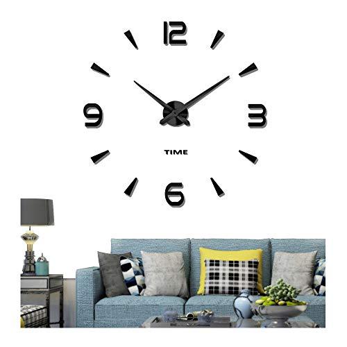 Vangold DIY Reloj de pared sin marco espejo grande 3D Sticker-2 años de garantía (Negro-73)