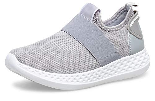 Caspar SBO108 Damen Slip On Low Wedges Fashion Sneaker, Farbe:grau, Größe:39 EU