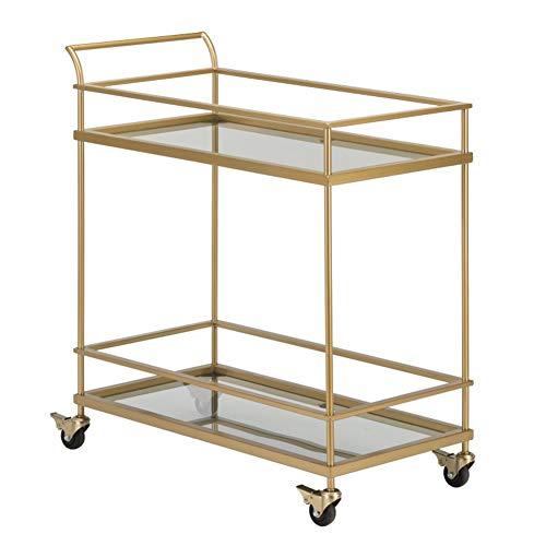 WILL Glas Servierwagen Eisen Design Retro Küche Mobile Cart Rechteck Restaurant Gold Weinregal 72x38x80 cm (Restaurant, Cart)