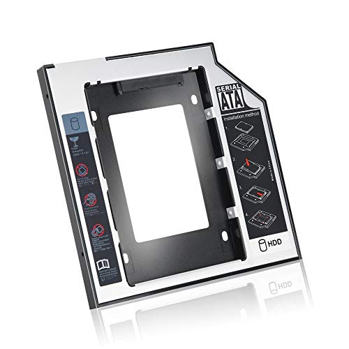 Preisvergleich Produktbild 9, 5 mm Universal Aluminium SATA zweite Festplatte SSD Festplatten-Caddy mit 4 Schrauben für CD / DVD-ROM Optical Bay Adapter