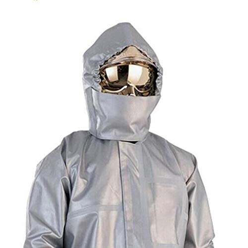 KLGW Chemikalienschutzkleidung, Feuerschutzoveralls, Aluminisierter flammhemmender Stoff (Kleidung/Hosen/Kopftuch) Split-Anzug