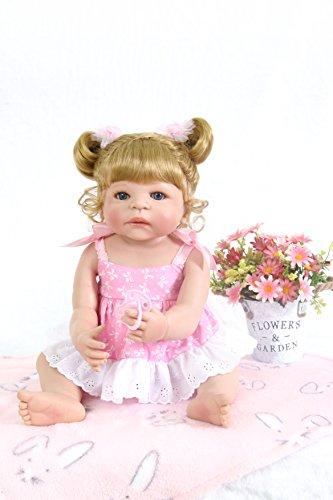 Pursue Baby 55cm Waschbar Voll Silikon Vinyl Körper Reborn Baby Doll lebensechte Baby Puppe Mädchen mit blonden Haaren Natalie