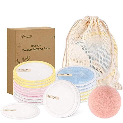 Waschbare Abschminkpads, Konjac Schwamm BESTOPE Wiederverwendbare Abschminktücher aus Bambus & Baumwolle mit Wäschebeutel, Nachhaltige Plastikfreie Bio Produkte, Zero Waste 19 Stück
