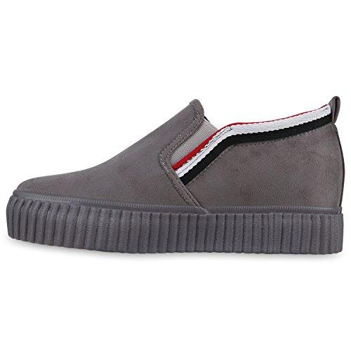 Damen Sneakers Keilabsatz Plateaú Sneaker-Wedges Metallic Schuhe Grau