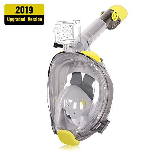 Unigear Masque de Plongée, Masque Snorkeling Plein Visage 180° Visible, Antibuée Anti-Fuite sous-Marine, 2019 Nouveau Version Snorkel Masque avec la Support pour Caméra de Sport (Jaune-Gris, L/XL)