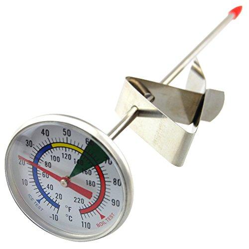 Thermomètre de mousseuse à lait avec sonde de 175 mm en acier inoxydable et clip, pour machine à café de bar