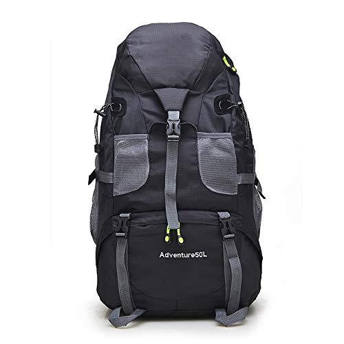NY-close Wandern Tasche, 50L Große Kapazität wasserdichte Nylon Camping Wandern Rucksack, Geeignet für Fitness Laufen/Wandern Camping/Skifahren/Radfahren/Wandern (Color : Black)