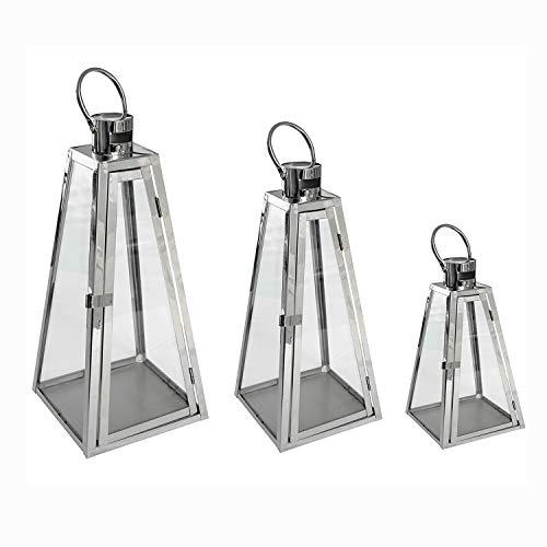 Gartenlaternen Pyramiden Set aus Edelstahl Windlicht Laterne Glas 27/40 / 55 cm ()