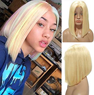 "Licoville 613 Blonde Bob Lace Front Human Hair Wigs Pre Plucked 12"" Middle Part Straight Sleek Blond Bob Lace Wig 180% Density 13×4 Frontal Wig for Women(Can be Styled)"