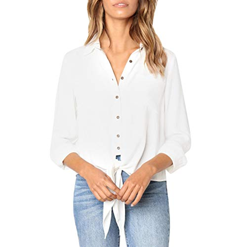 ESAILQ Frau Einfarbig Knopf Hem Unregelmäßige Bluse (S, Weiß)